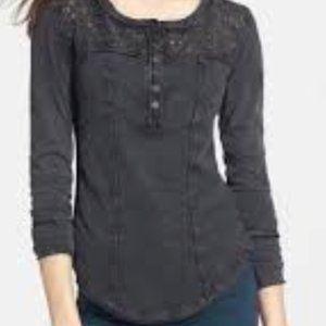 Free People Black Henley Shirt